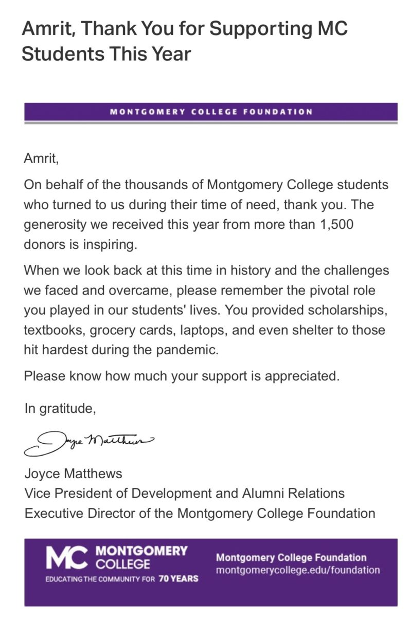 Letter of Appreciation From Montgomery College August 2020